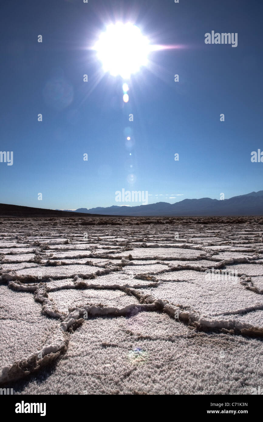 Badwater dry salt flat in Death Valley Stock Photo