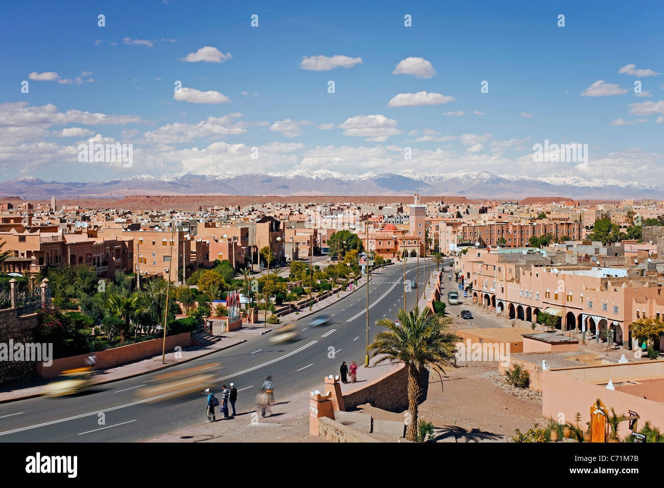 atlas mountains and the town of ouarzazate morocco northwest africa C71M7B