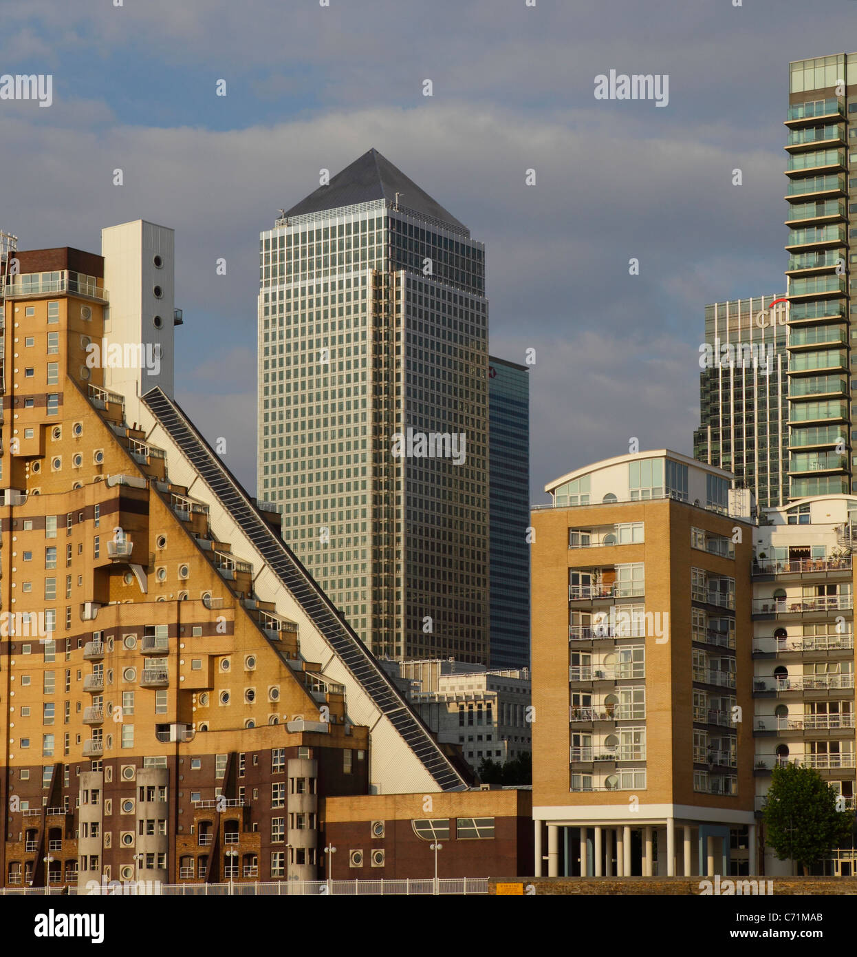 City buildings Canary Wharf, Isle of Dogs, Docklands, East London, UK, GB - Stock Image