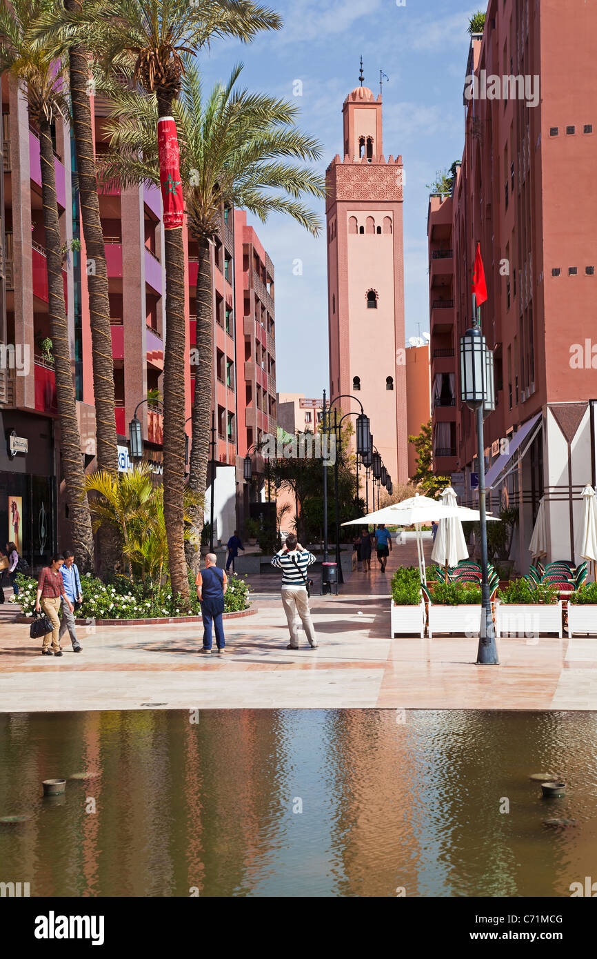 New shopping center and apartments in the wealthy area of Gueliz in Marrakesh, Morocco, North Africa - Stock Image