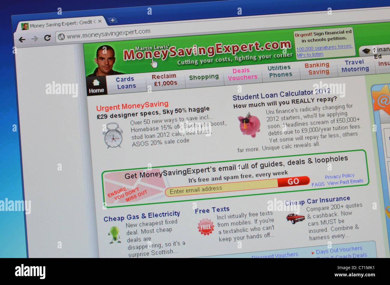 MoneySavingExpert website screenshot Stock Photo