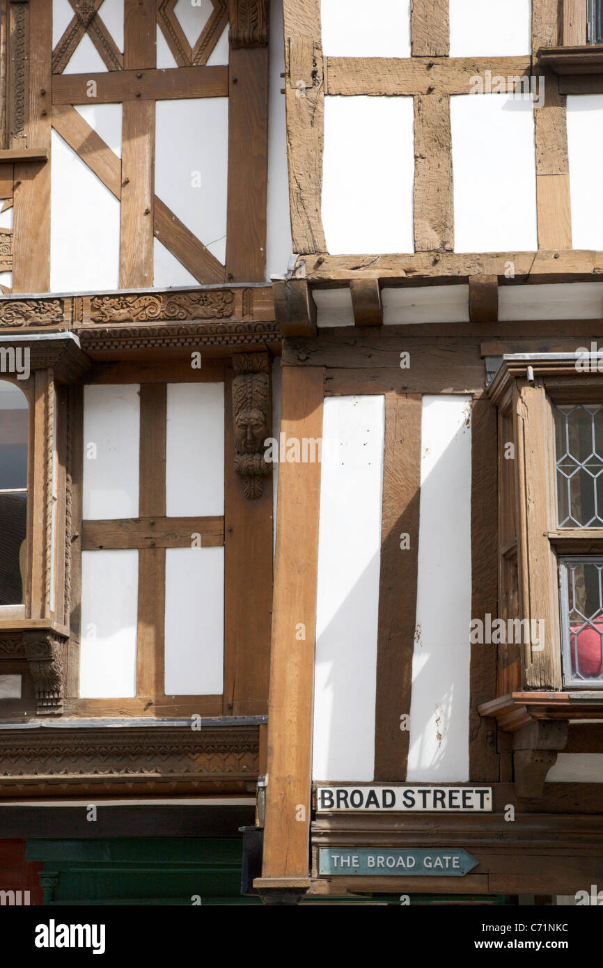 Half Timbered Building on Broad Street Ludlow Shropshire England - Stock Image