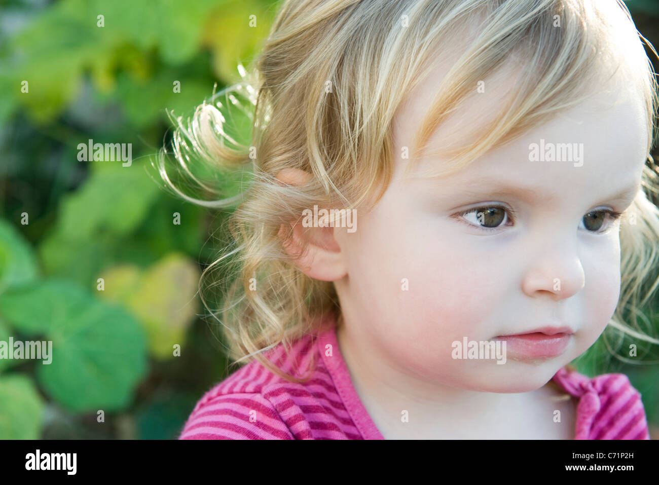 Toddler girl looking away in thought, portrait - Stock Image