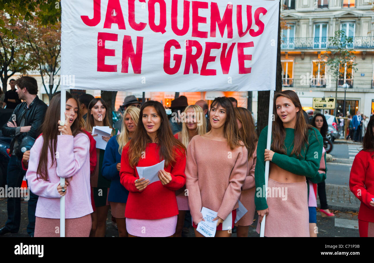 Paris, France, Group French Female Teens Holding Fake Demonstration as Publicity Stunt during 'Fashion Night', - Stock Image