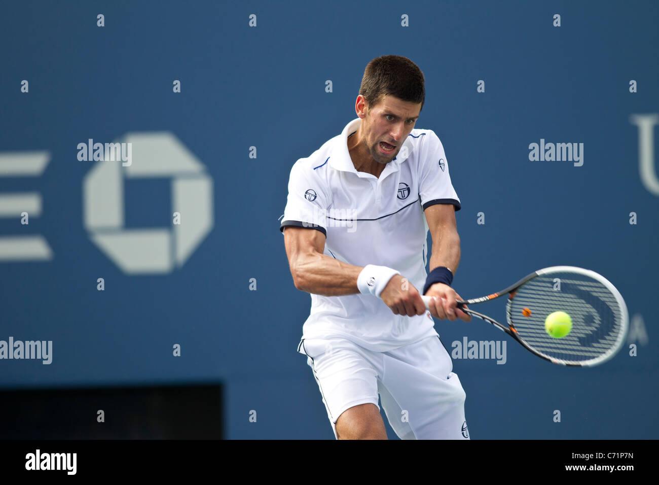 Novak Djokovic (SRB) competing at the 2011 US Open Tennis. - Stock Image