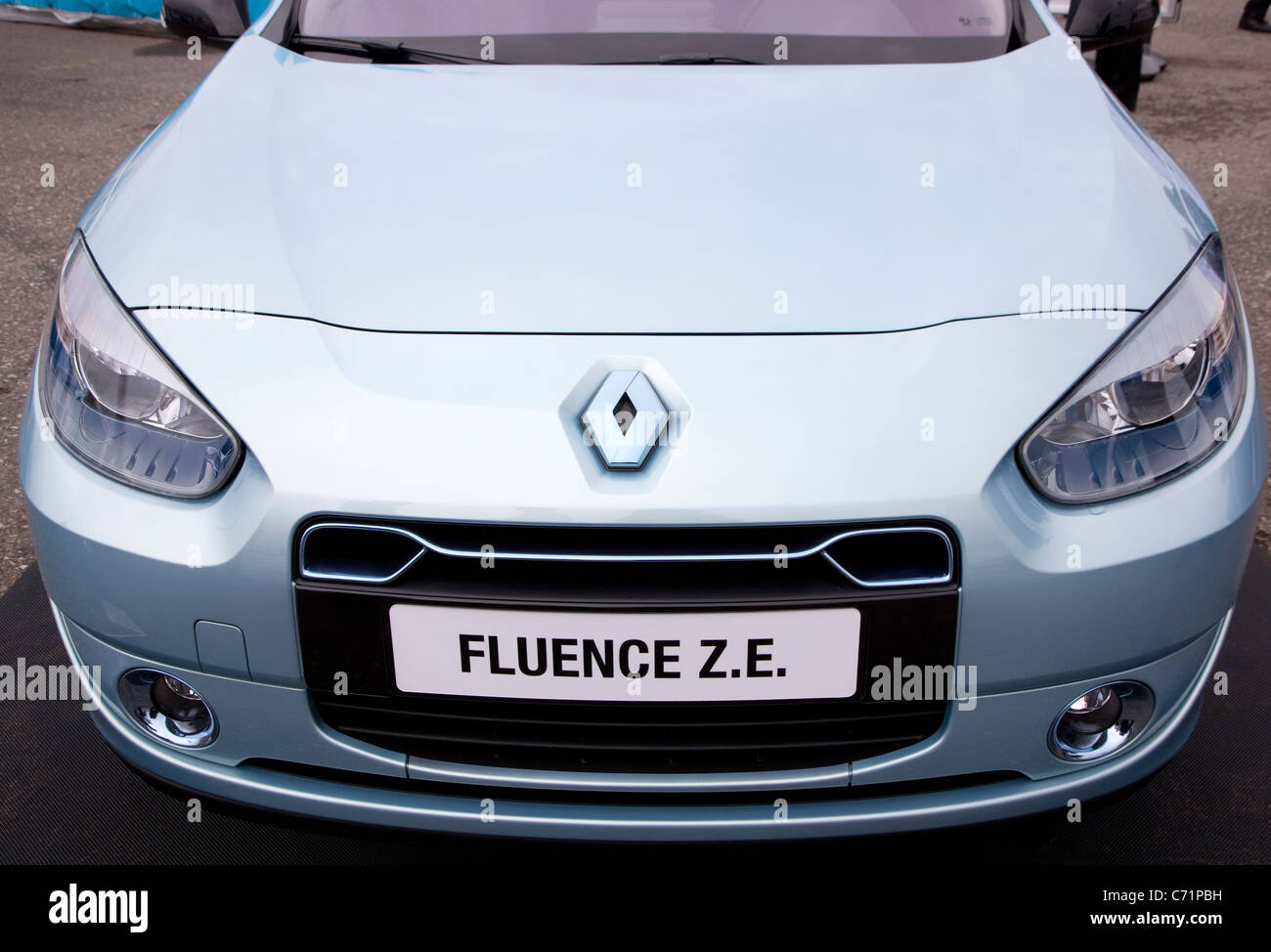Ecovelocity motor festival London - Renault Fluence Z E zero emissions car - Stock Image