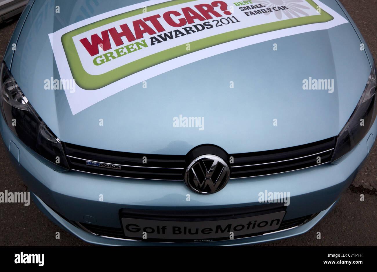 Ecovelocity motor festival London - Volkswagen Golf Blue Motion - Stock Image
