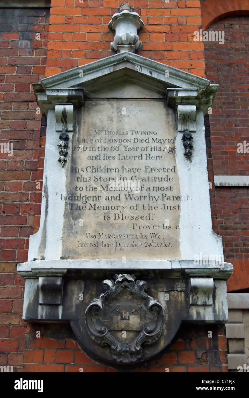 memorial to thomas twining, founder of twinings tea, at st marys church, twickenham, england - Stock Image