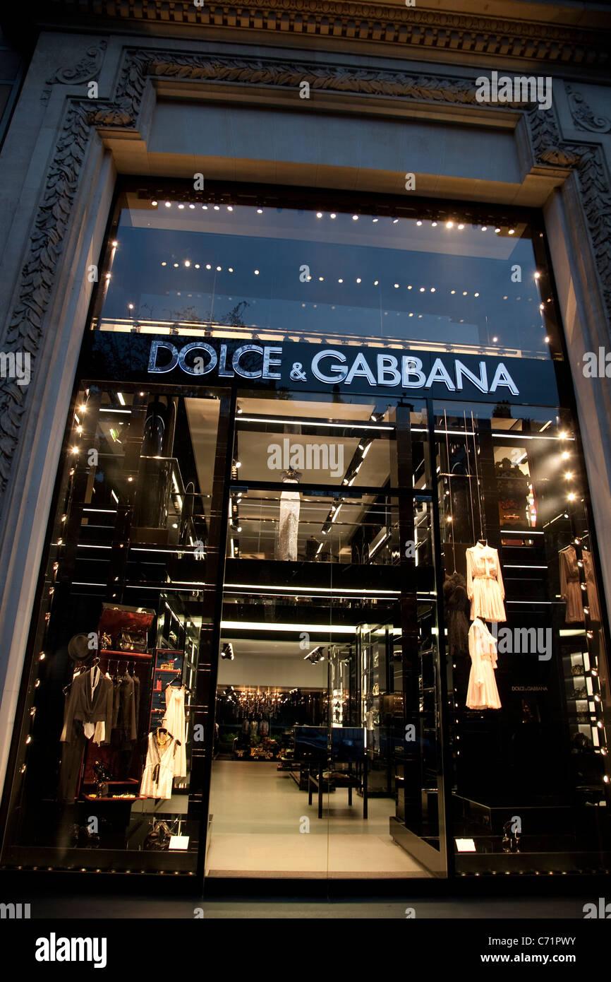 Dolce & Gabbana Shop on Avenue Montaigne, Paris, France - Stock Image