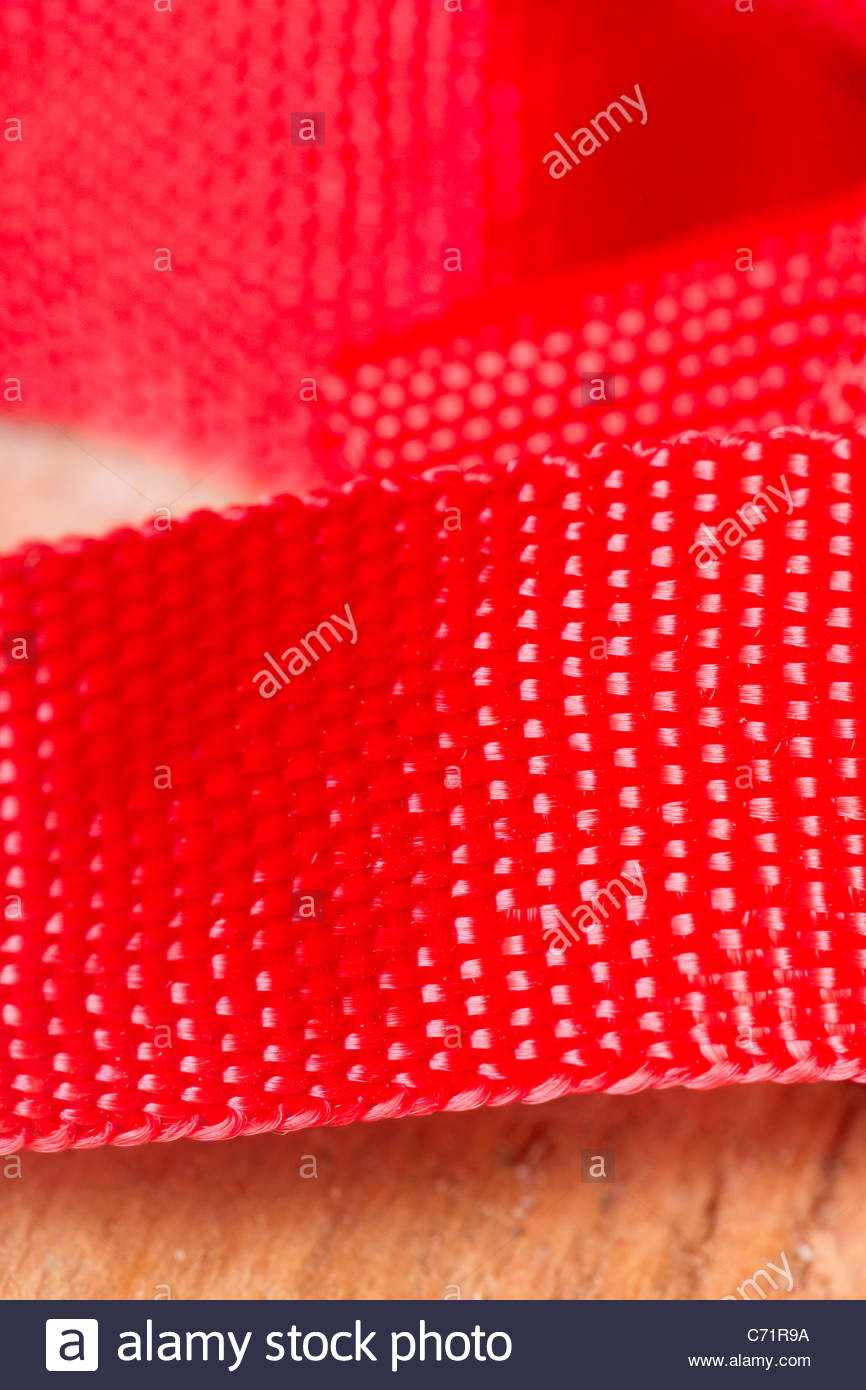 Red nylon fabric synthetic - Stock Image