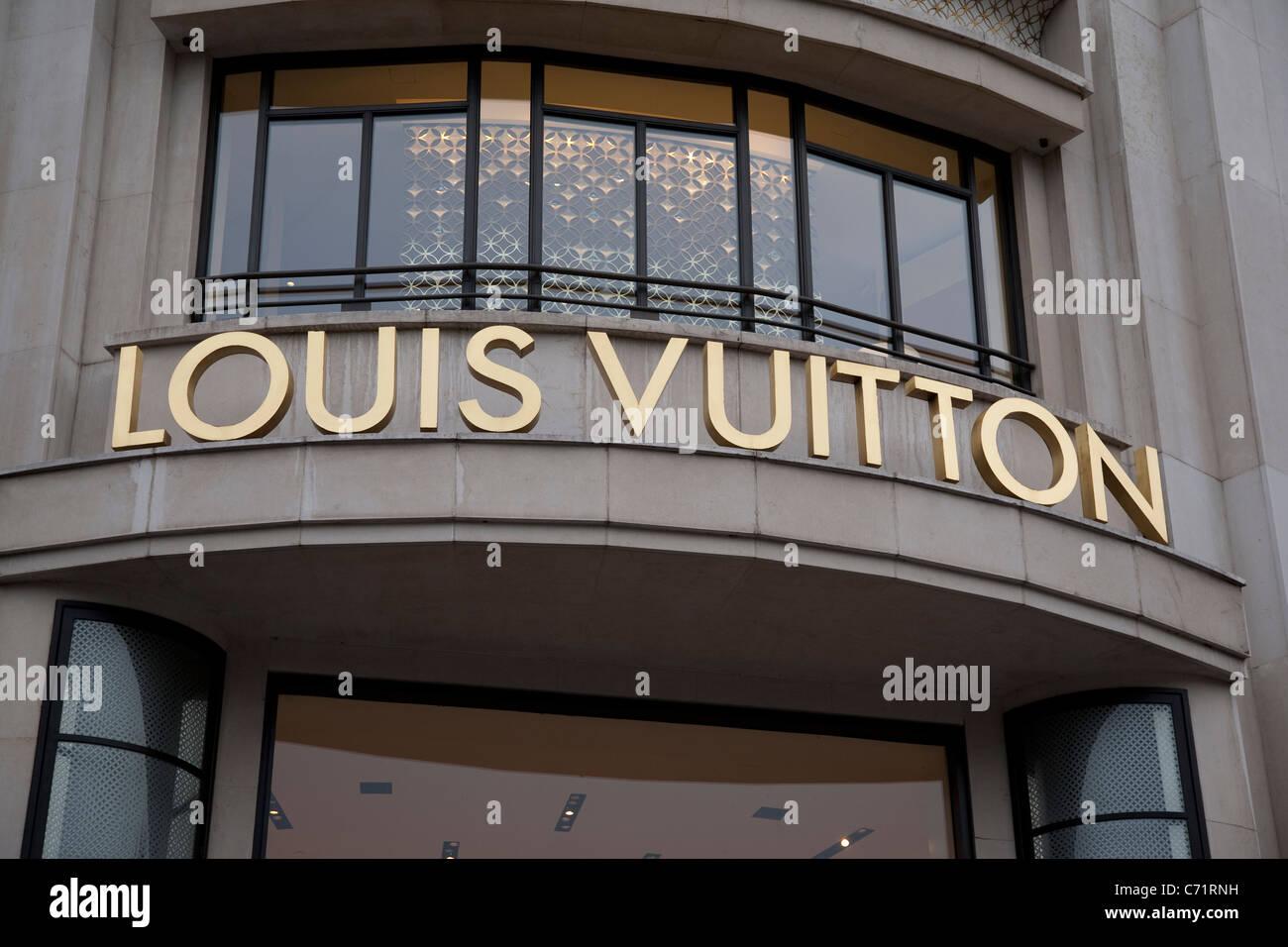 Loius Vuitton Shop Logo on Champs-Elysees, Paris, France - Stock Image