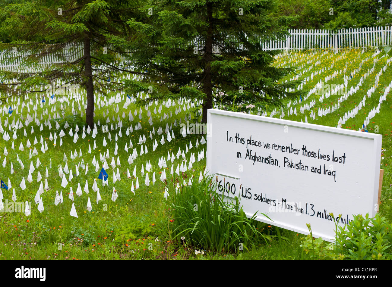 Remembering lives lost in Afghanistan and Iraq Maine United States - Stock Image