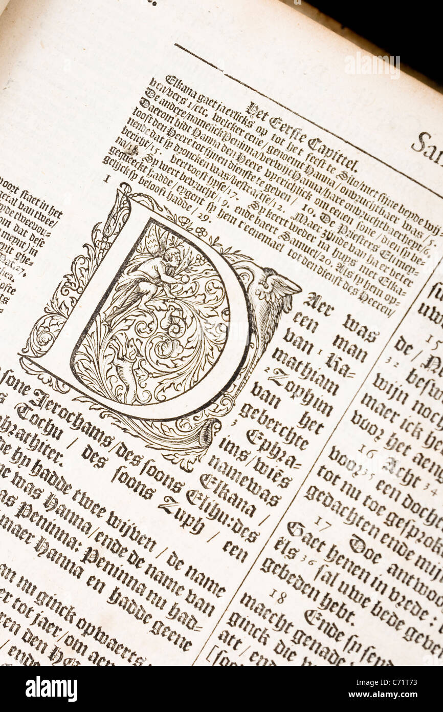 fancy D letter from 17th century Dutch bible - Stock Image