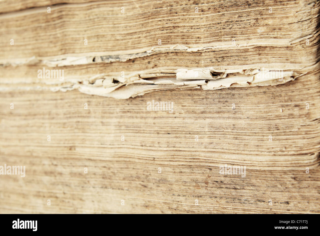 the worn and uneven ragged edges of an old antique book - Stock Image
