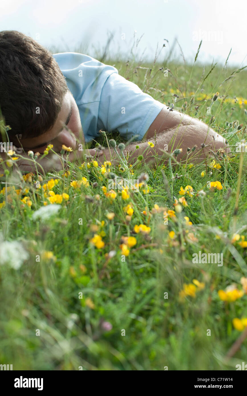 Man napping on meadow - Stock Image
