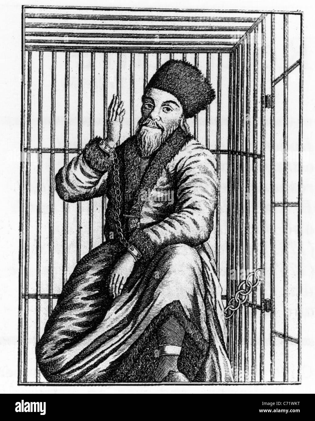 YEMELYAN PUGACHEV (c 1742-1775) Pretender to Russian throne who led a Cossack rebellion. Shown here caged before - Stock Image