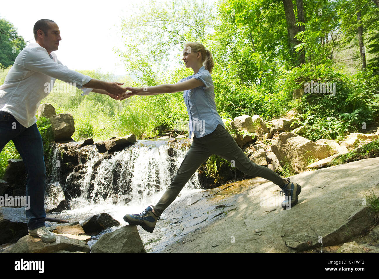 Couple hiking - Stock Image