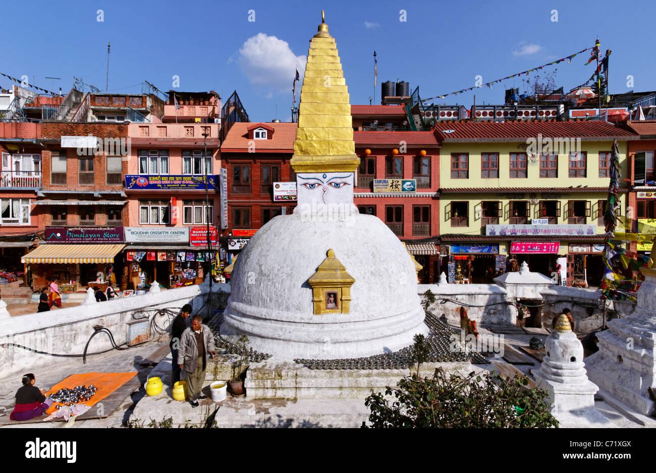 Buddhist stupa at Bodhnath, Kathmandu, Nepal - Stock Image