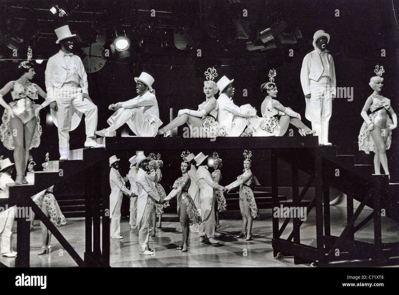 George mitchells black and white minstrels bbc tv variety show about 1960 stock image