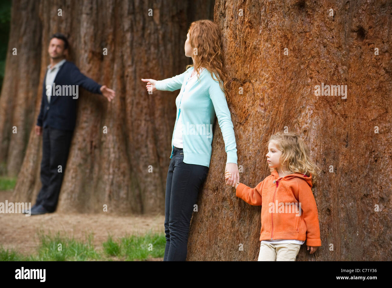 Parents leaning against separate trees, reaching out for each other - Stock Image