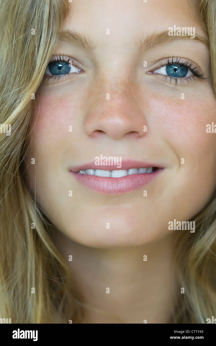 Young woman, close-up portrait - Stock Image
