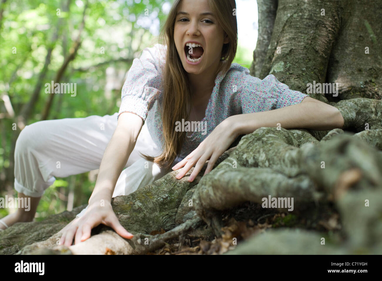 Young woman with mouth open climbing on roots of tree - Stock Image