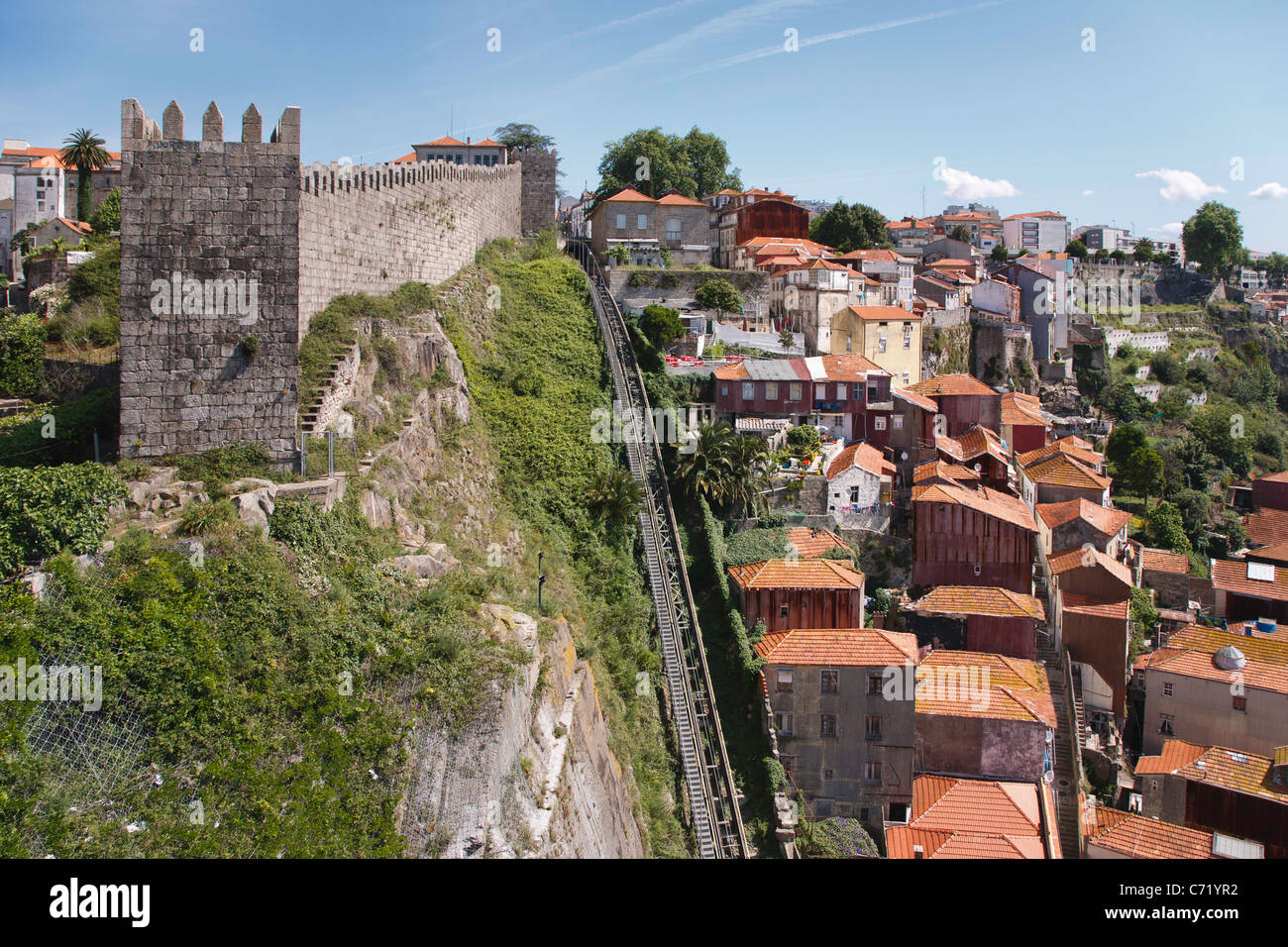 Funicular railway rising between old walls and dwellings. Porto - Stock Image