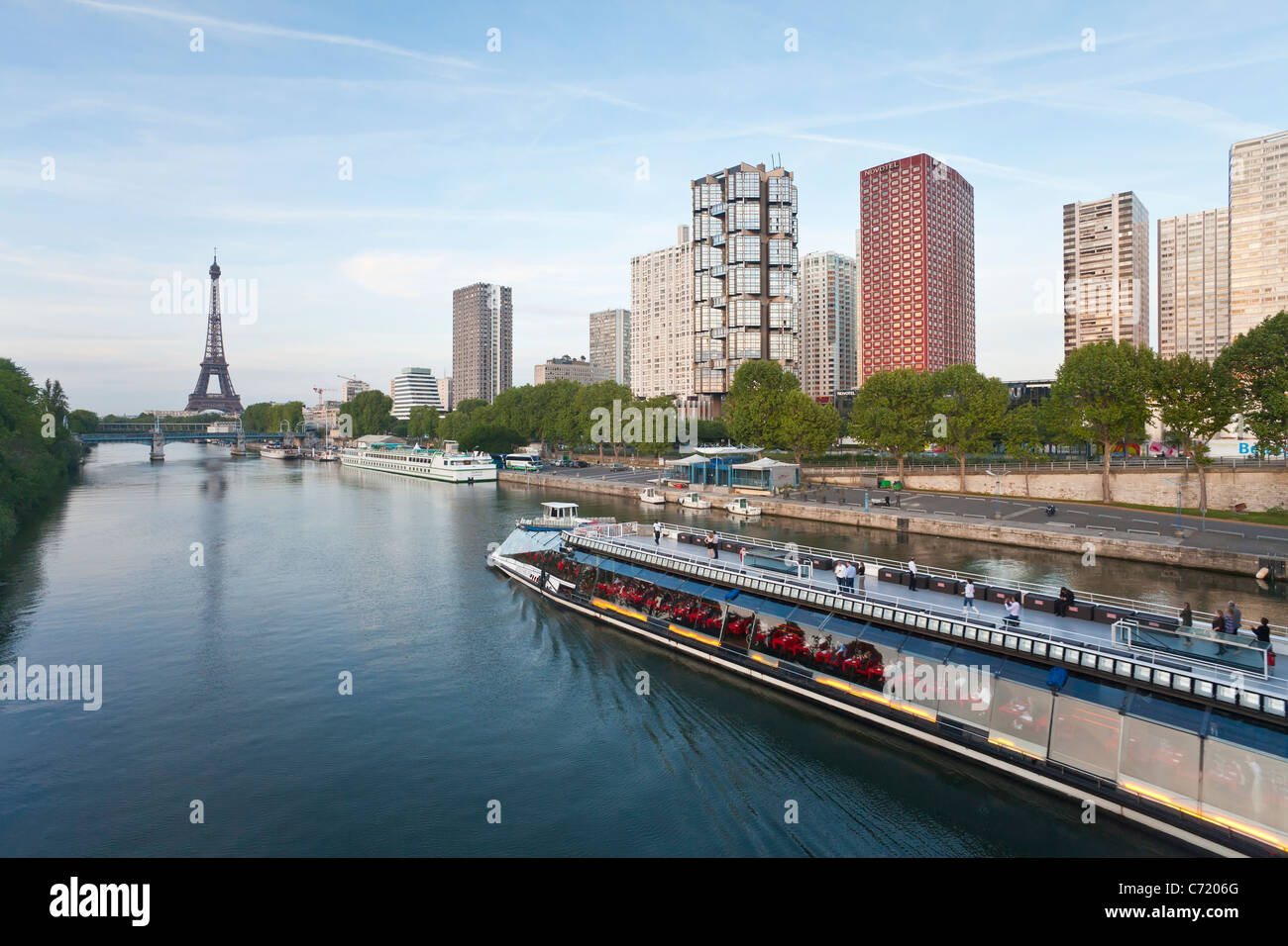 France, Paris, View Of River Seine With High-rise Buildings On The Left Bank And Eiffel Tower - Stock Image