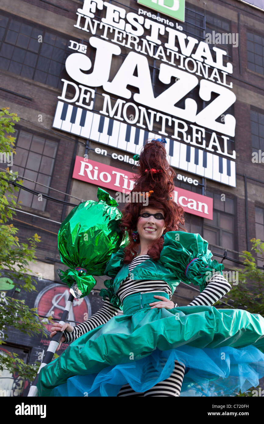 Canada,Quebec,Montreal, Montreal Jazz Festival, street performer - Stock Image