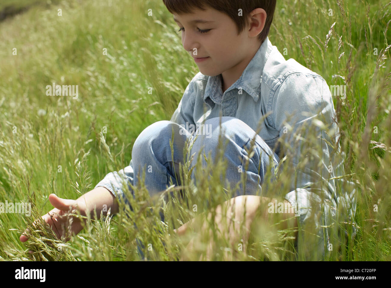Boy playing with grass in field - Stock Image