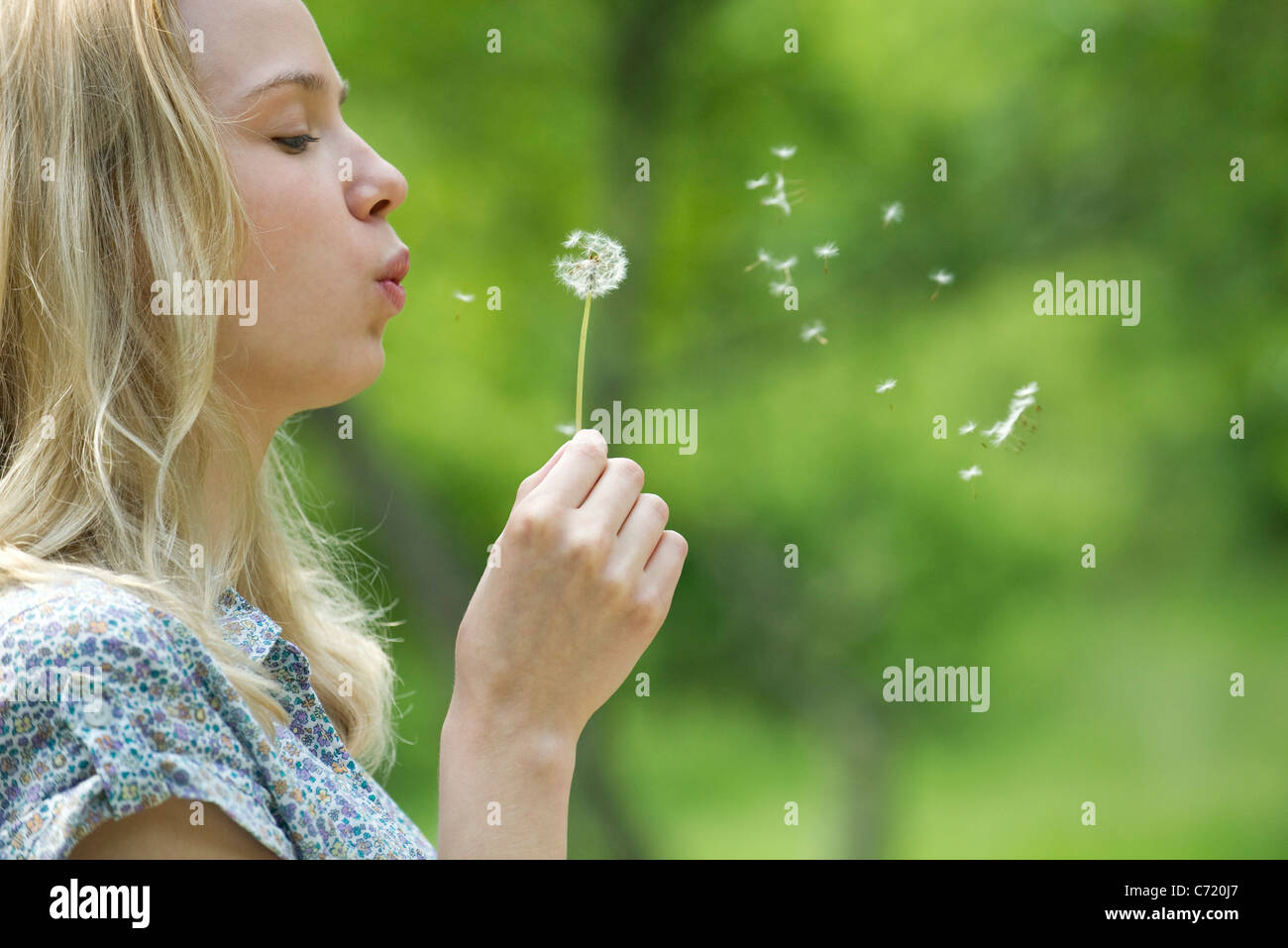 Young woman blowing dandelion flower - Stock Image