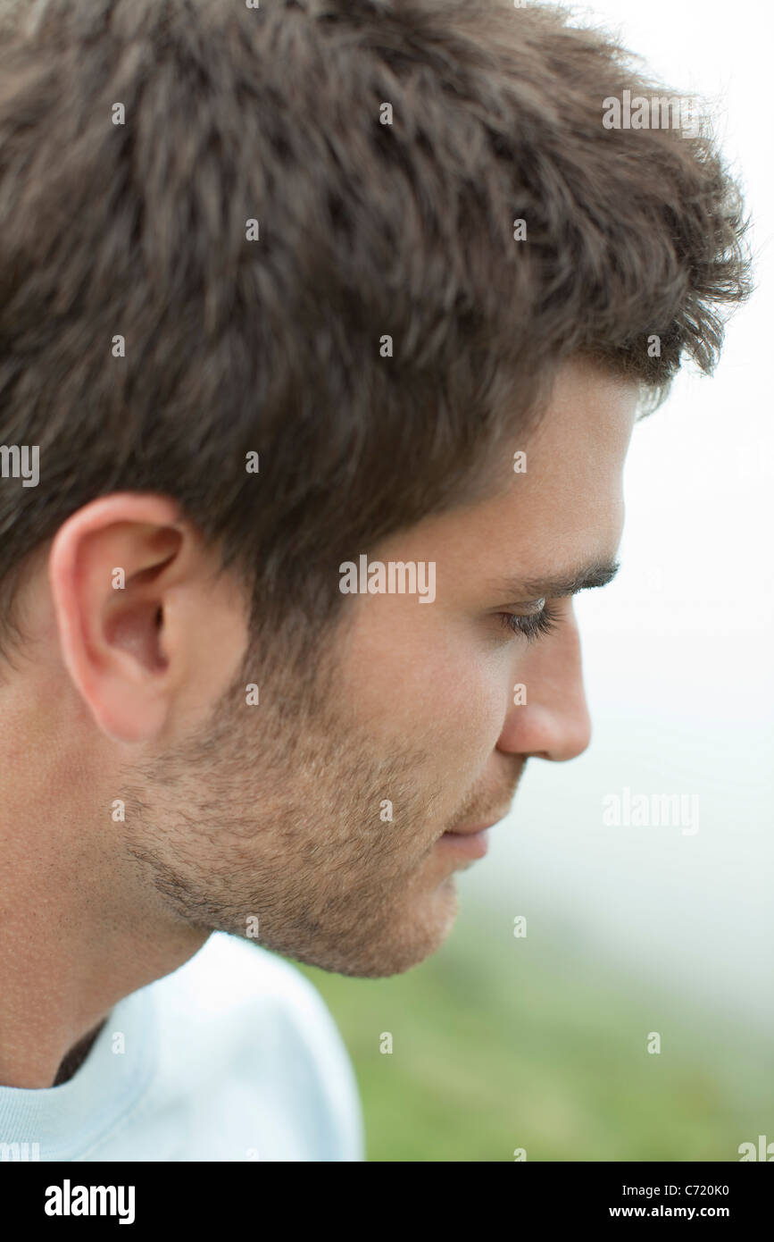 Man in nature, portrait - Stock Image
