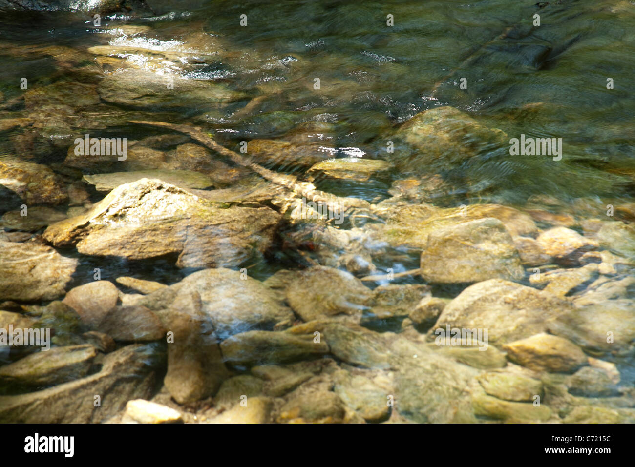 Clear river with rocks - Stock Image