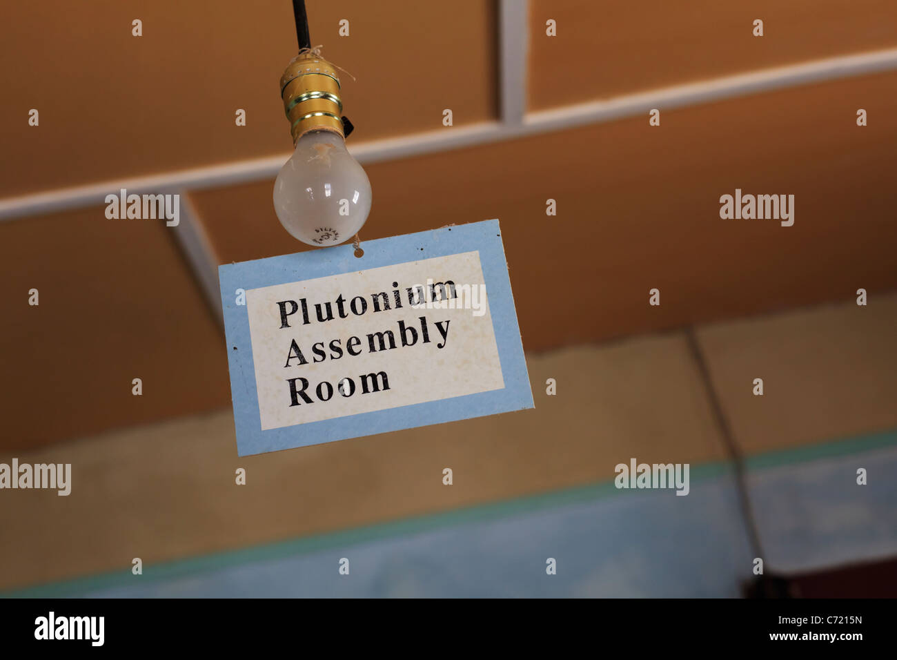 A sign for the plutonium assembly room in historic McDonald Ranch House at Trinity Site - site of the first nuclear - Stock Image