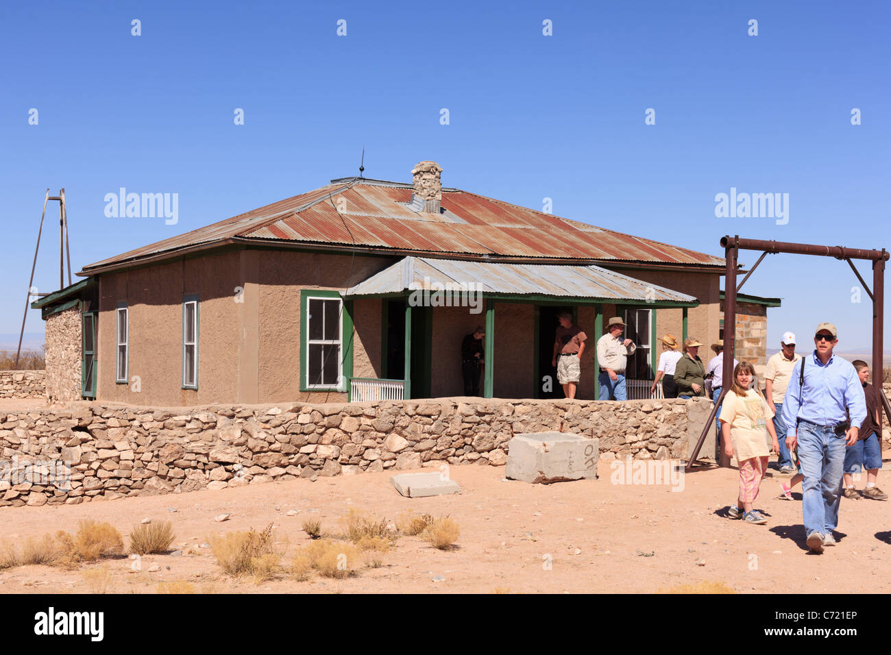 The historic McDonald Ranch House at Trinity Site, where the world's first nuclear device was assembled in 1945. - Stock Image
