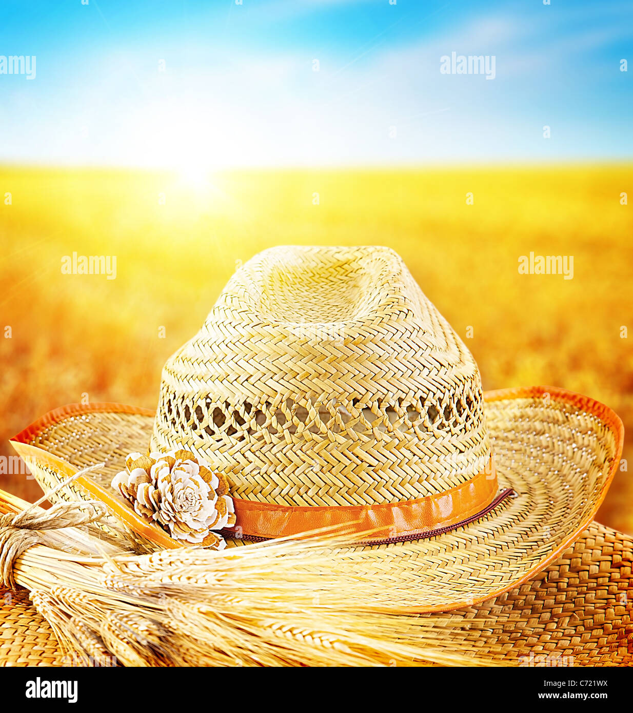 Wheat field and the hat of a farmer, agricultural business industry, autumn seasonal harvest concept - Stock Image
