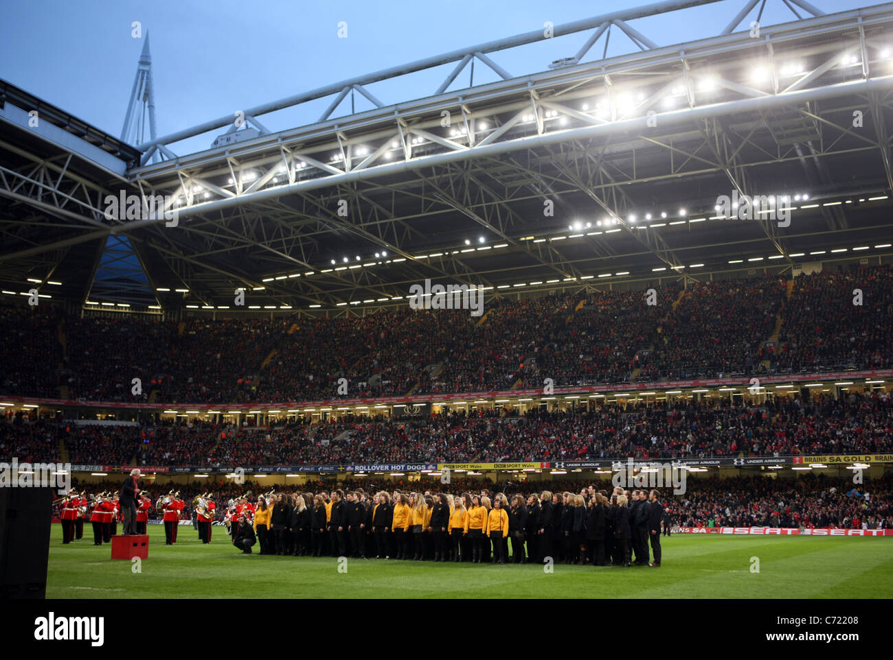 A choir singing the Welsh National Anthem at the Millennium Stadium