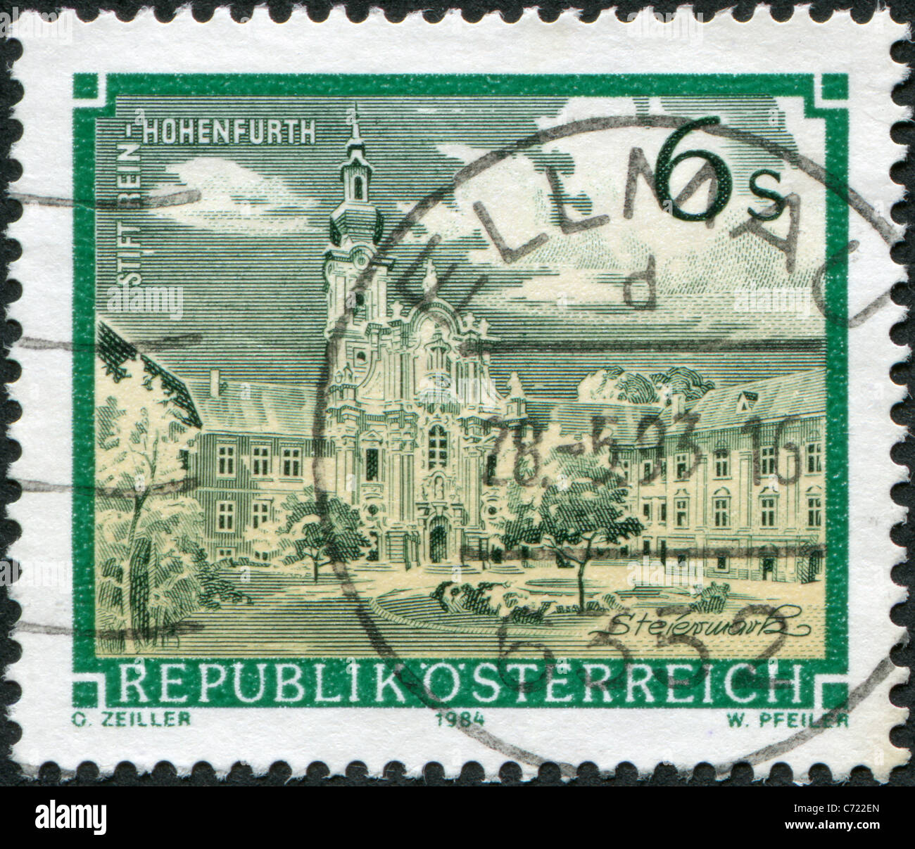 AUSTRIA - 1984: A stamp printed in Austria, is shown Rein Abbey (Rein-Hohenfurth) - Stock Image