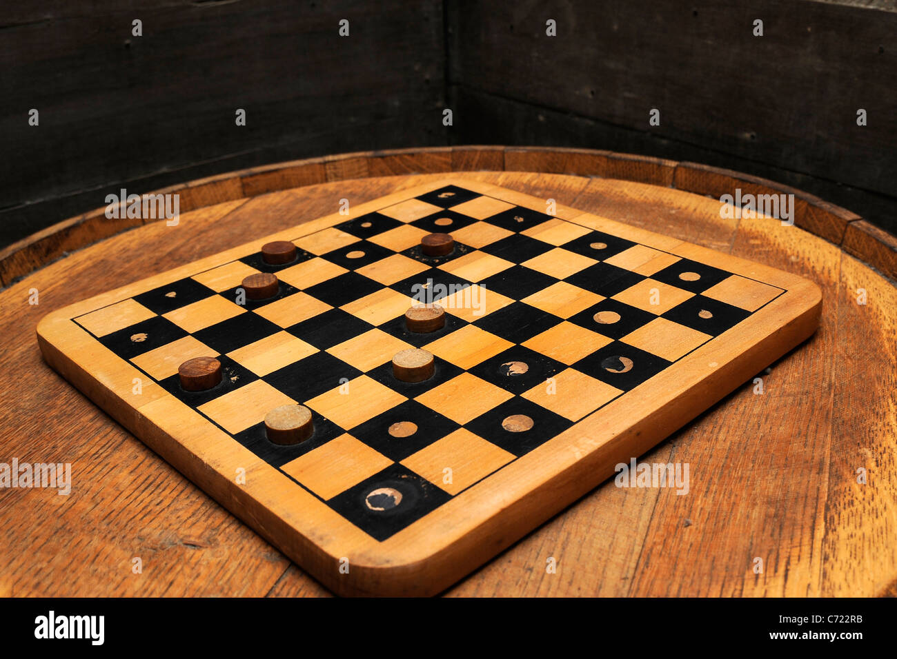 Vintage Draughts / Checkers Board - Stock Image