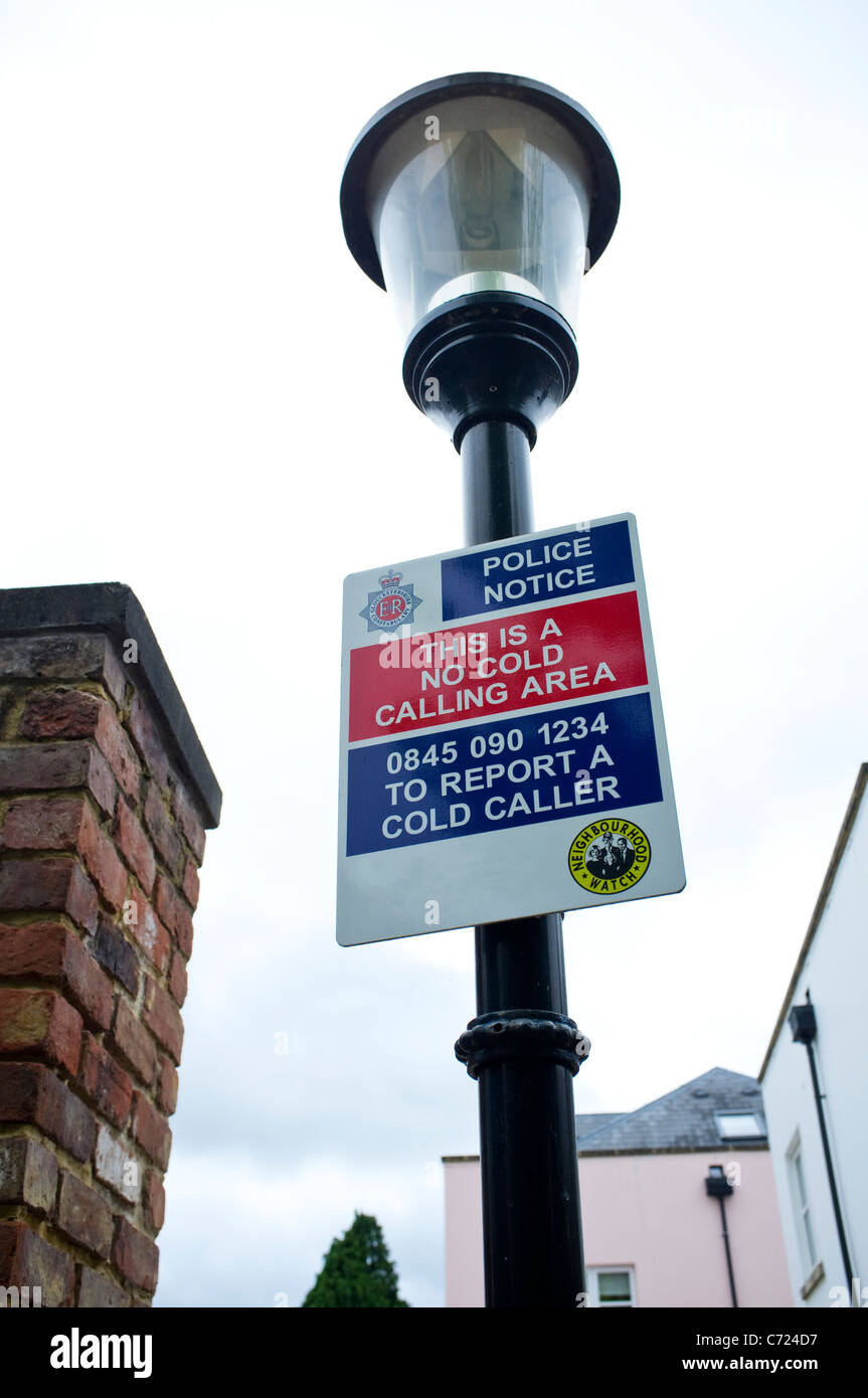 No Cold Calling Area and Neighbourhood Watch sign. - Stock Image