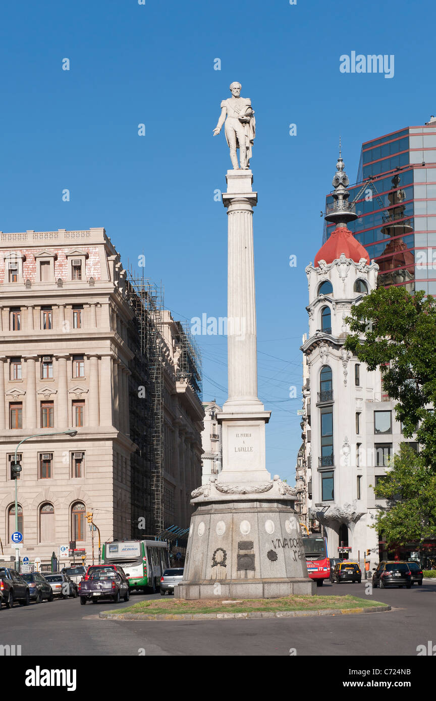 Plaza Lavalle, General Juan Lavalle Column, Buenos Aires, Argentina - Stock Image