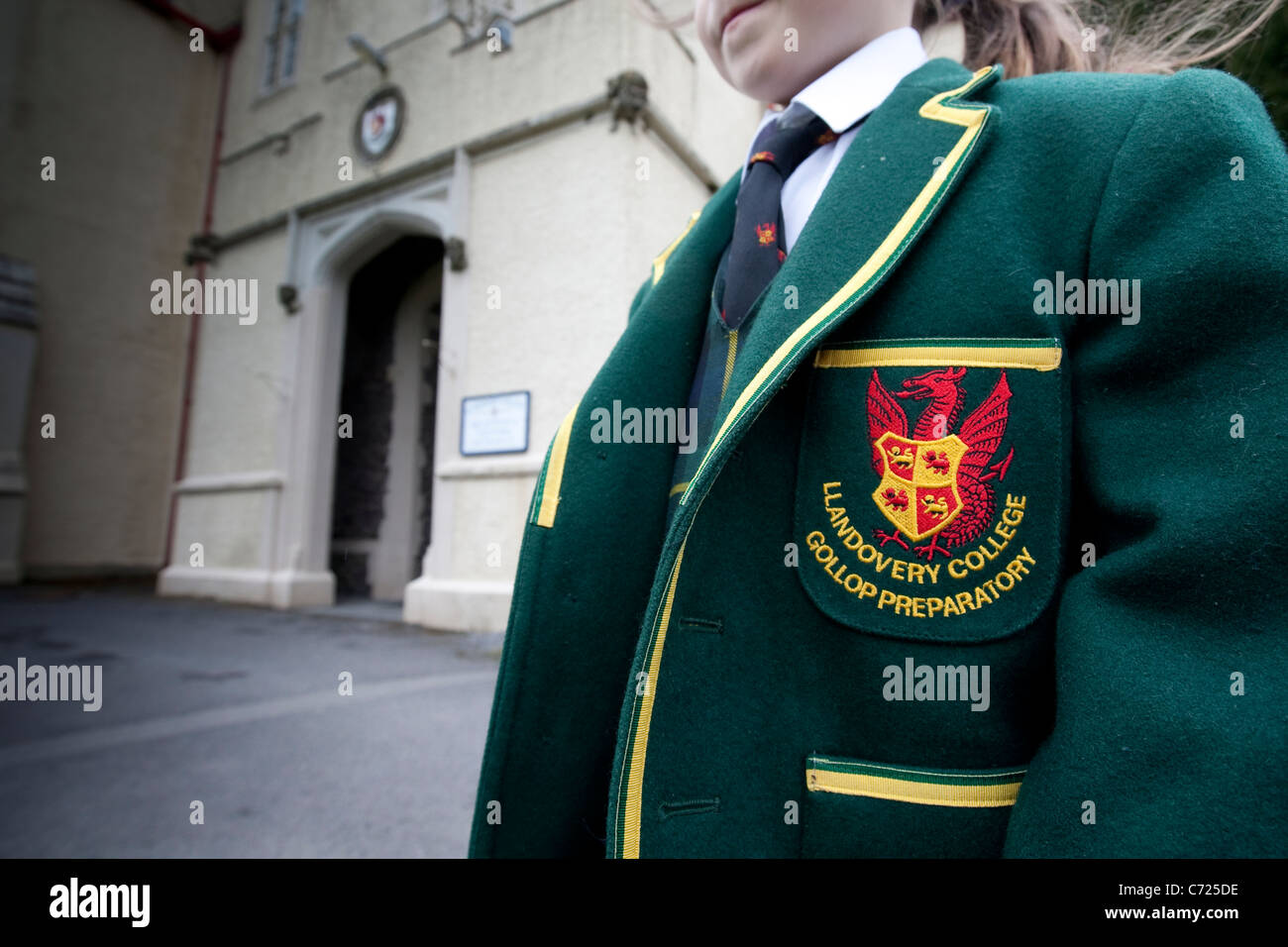 A young pupil in the traditional uniform of Llandovery College and Preparatory School. - Stock Image
