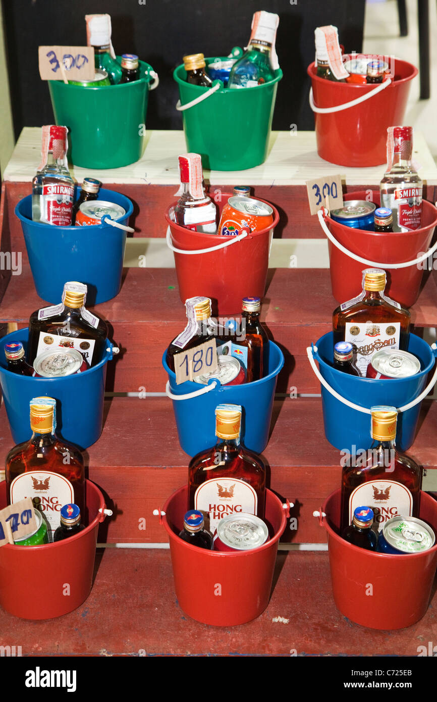 Buckets of Booze in Thailand - Stock Image