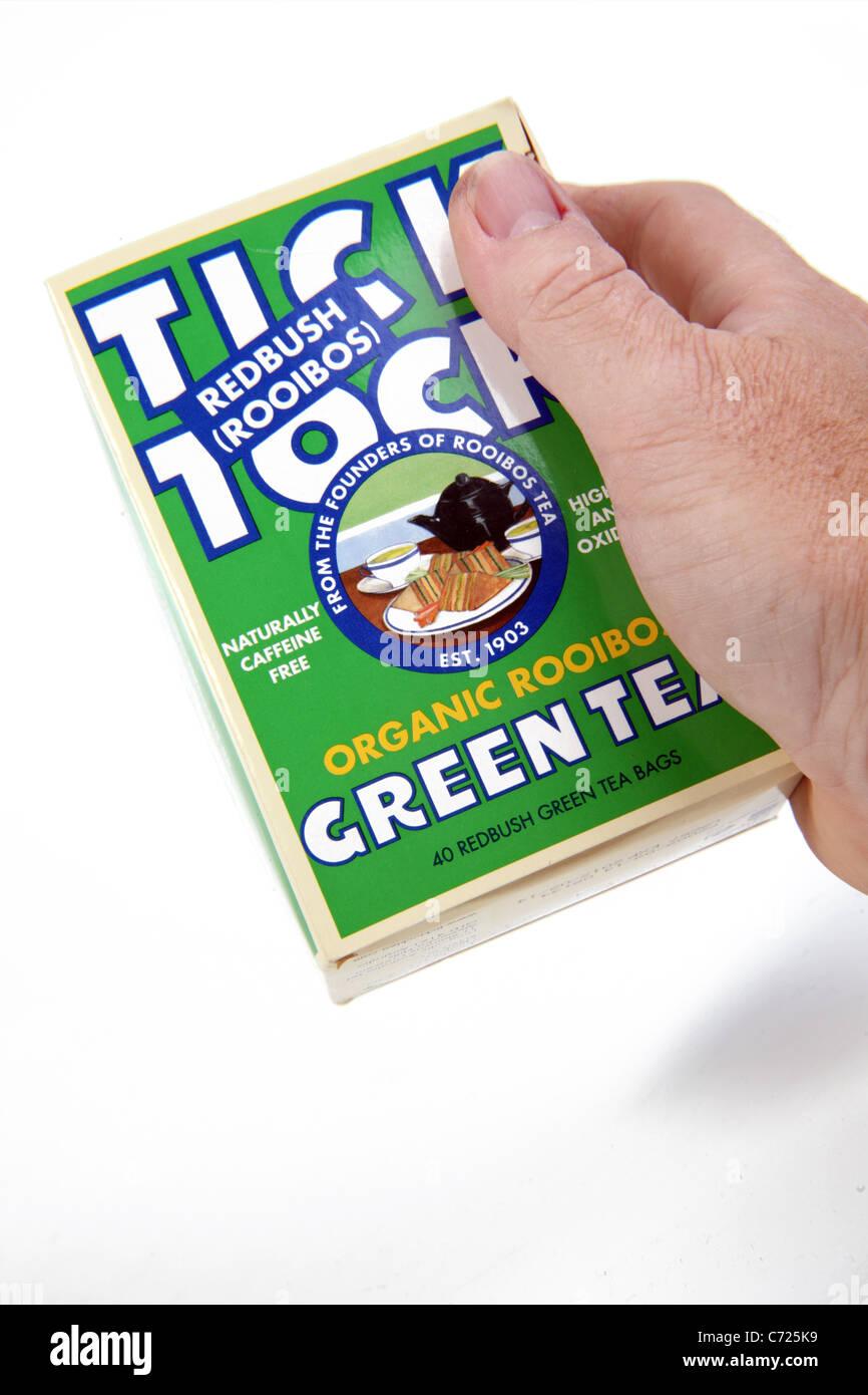 Packet of Tick Tock Brand Redbush Green Tea - Stock Image