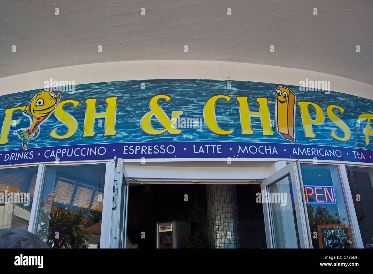 Clacton-on-Sea, Essex. Fish and chips on the pier. September 2011 - Stock Image