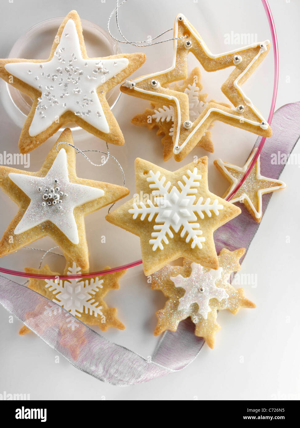 Star Shaped Iced Christmas Biscuits Stock Photo 38772529 Alamy