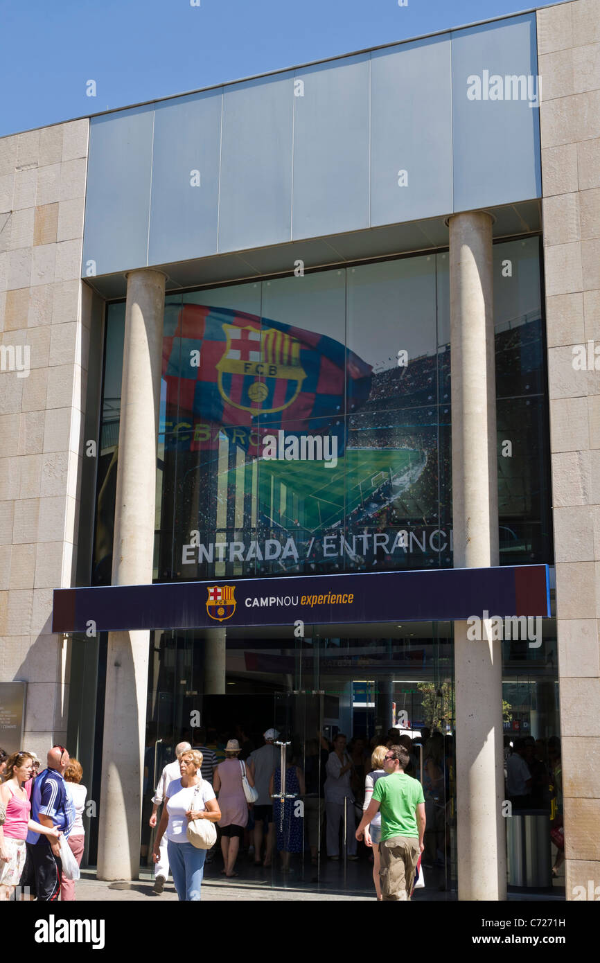 Entrance to the club museum at Camp Nou Barcelona - Stock Image