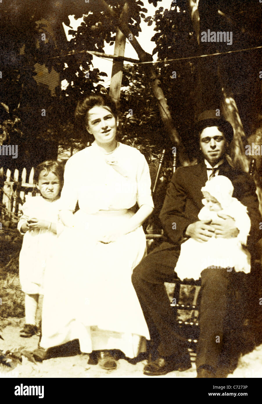 This photo, which dates to c. 1914, shows a couple living in Mattapoisett, Massachusetts—of Portuguese descent but - Stock Image