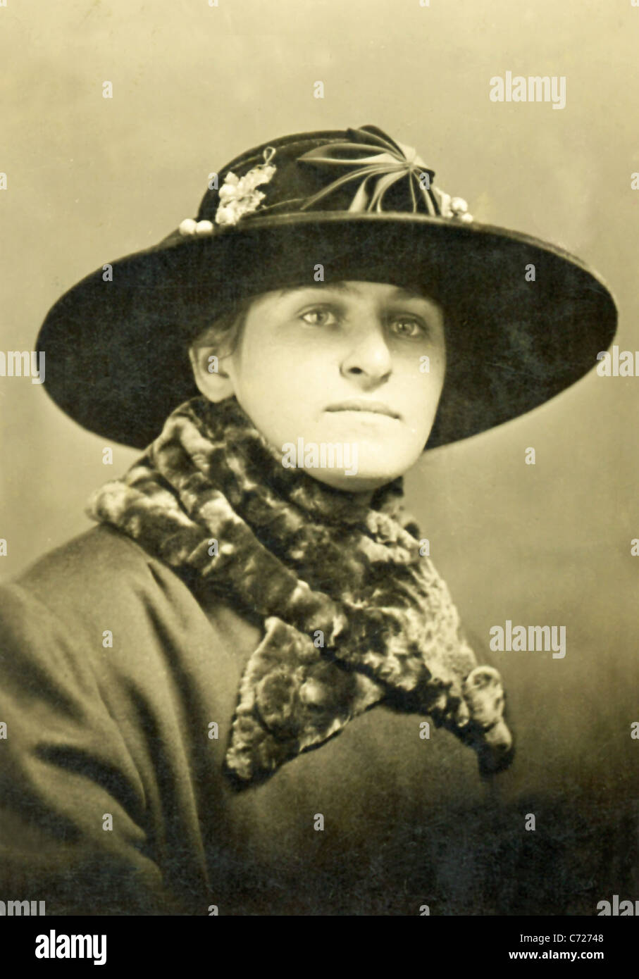 The photo, which dates to 1918, shows a woman in New Bedford, Massachusetts. - Stock Image
