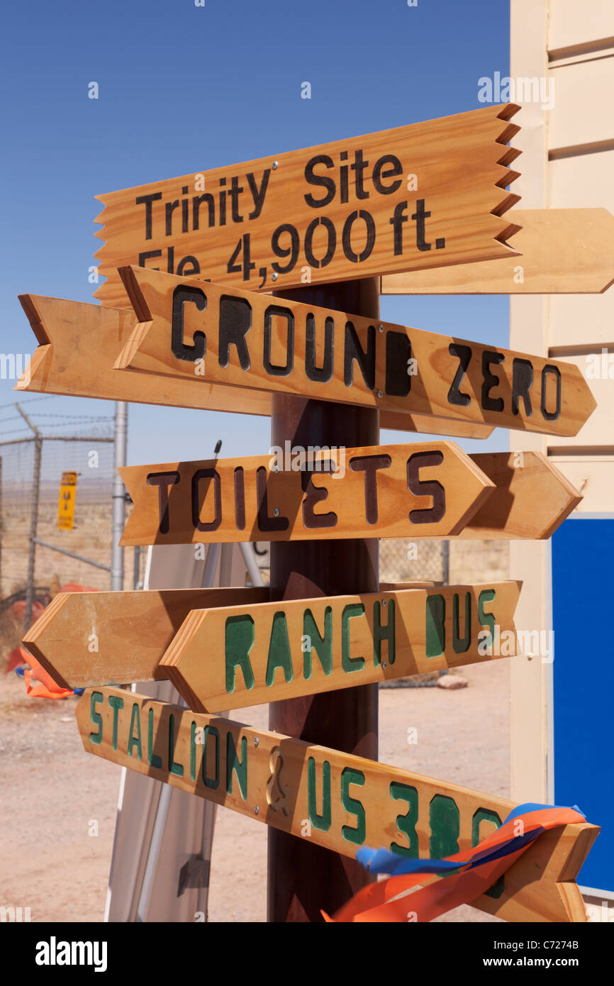 Directional signs at Trinity Site in New Mexico, site of the world's first nuclear test device explosion in - Stock Image